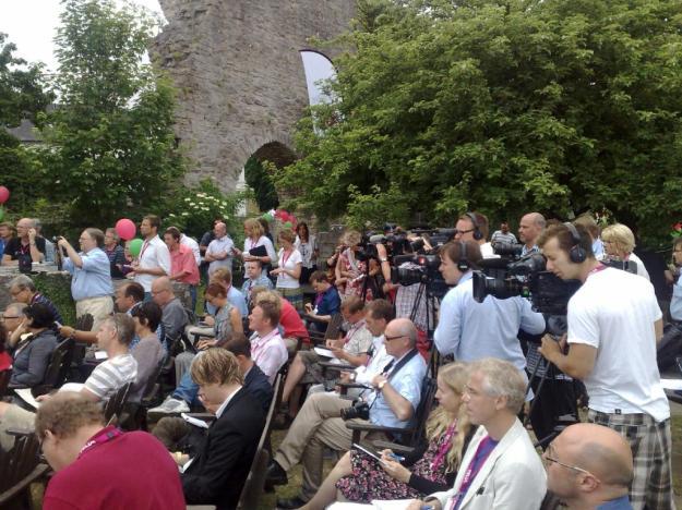 Presskonferens i Visby under Almedalsveckan. Foto: SIX News