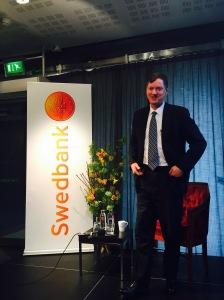 Federal Reserve-ledamoten Charles Evans vid Swedbank Global Outlook Seminar. Foto: SIX News