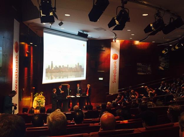 Vid Swedbank Global Outlook Seminar på Berns i Stockholm deltog bland andra ECB-ledamoten Yves Mersch, Federal Reserve-ledamoten Charles Evans och Riksbankschef Stefan Ingves. Foto: SIX News