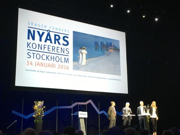 Flera av Skagen Fonders förvaltare under Skagen Fonders nyårskonferens 2016.