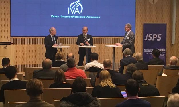 Riksbankschef Stefan Ingves och Japans vice centralbankschef Hiroshi Nakaso vid seminarium hos IVA. Foto: SIX News