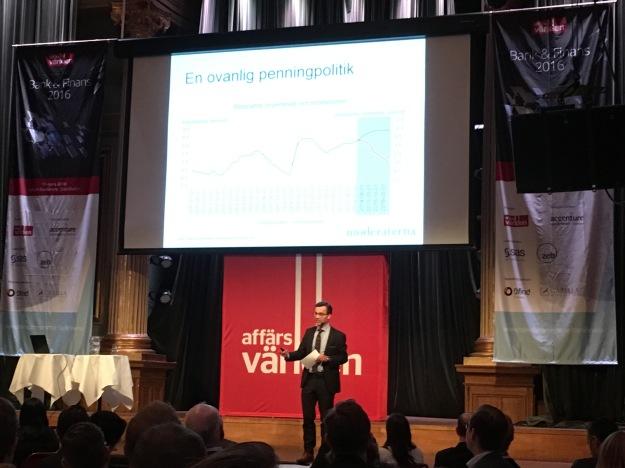 Moderaternas ekonomisk-politiska talesperson Ulf Kristersson vid Affärsvärlden Bank & Finans Outlook 2016. Foto: SIX News