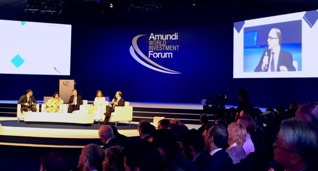 Philippe Ithurbide, chefsekonom för förmögenhetsförvaltaren Amundi, vid paneldiskussion. Foto: SIX News